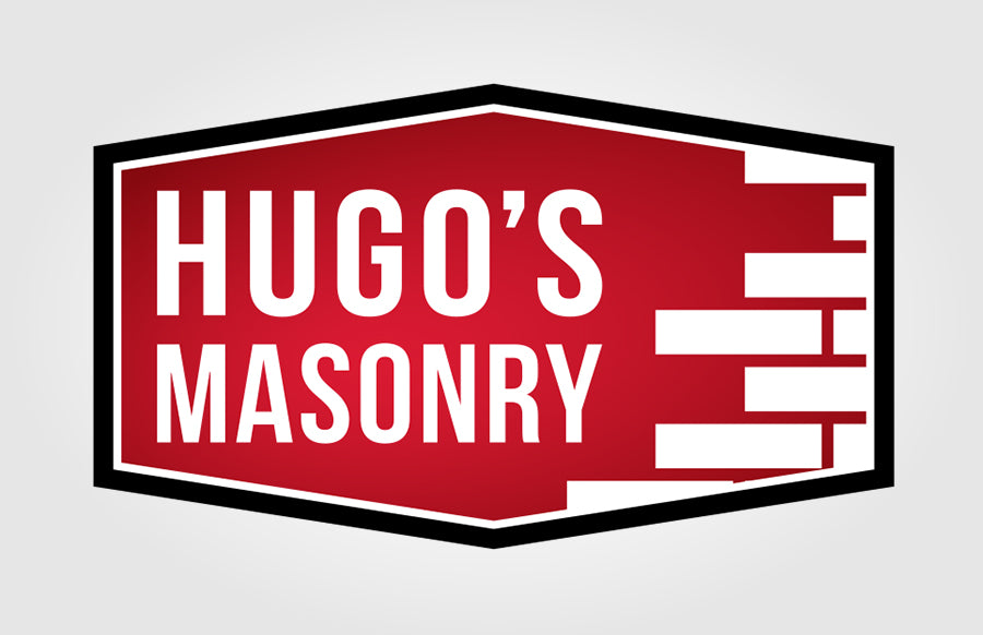 Hugo's Masonry Flat Red Brick Logo with Gradient by Rockin Monkey Designs of San Antonio