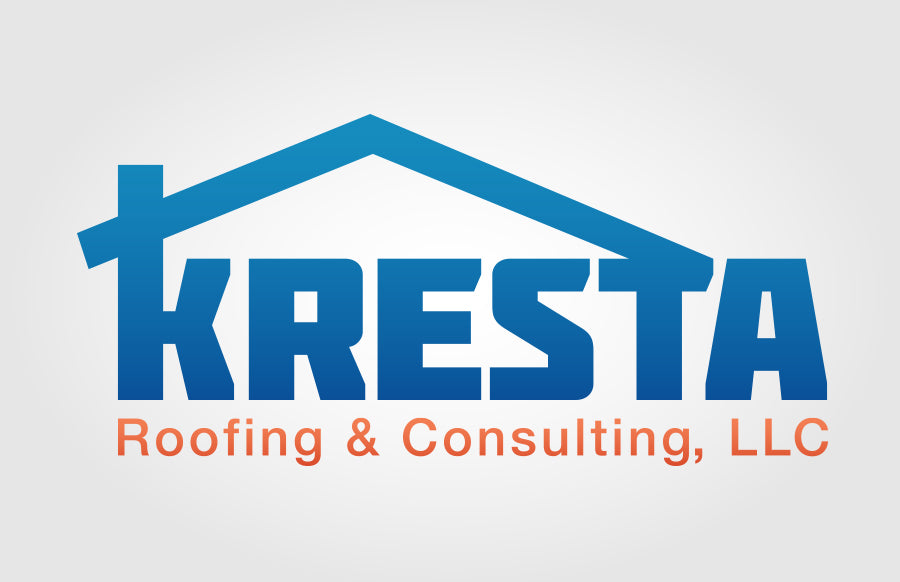 Kresta Roofing and Consulting LLC Blue Gradient Logo by Rockin Monkey Designs of San Antonio