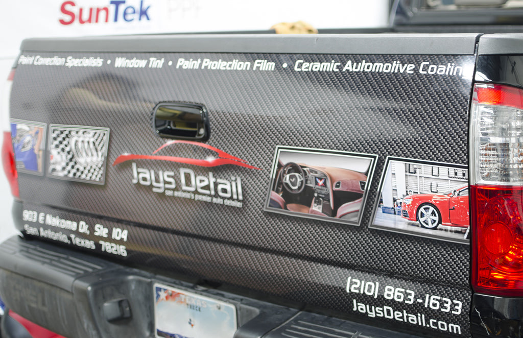 Custom Printed and Installed Tailgate Wrap for Jays Detail on a Toyota Tundra by Rockin Monkey Designs of San Antonio