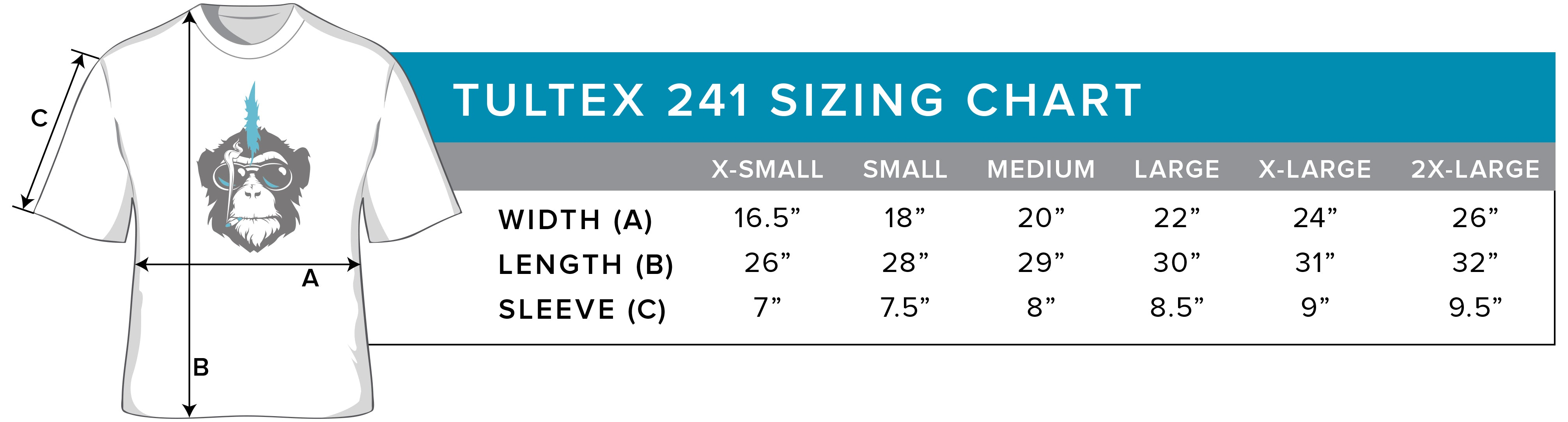 TULTEX 241 Sizing Chart by Rockin Monkey Designs of San Antonio