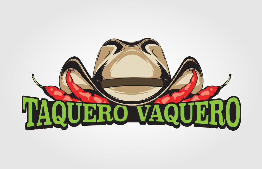 Taquero Vaquero Food Truck Cowboy Hat and Peppers Logo by Rockin Monkey Designs