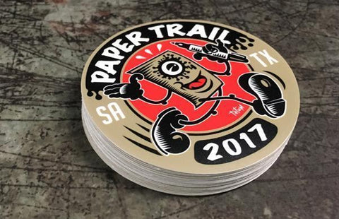 Custom 2017 papertrail round stickers printed by rockin monkey designs of san antonio