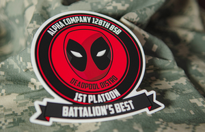Alpha Company 128th BSB 1st Platoon Deadpool Printed Die Cut Stickers by Rockin Monkey of San Antonio
