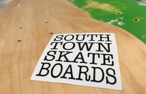 Custom printed full color square sticker for south town skate boards by rockin monkey designs of