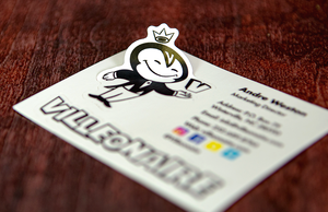 Custom Printed Villeonaire Business Card Stickers by Rockin Monkey of San Antonio