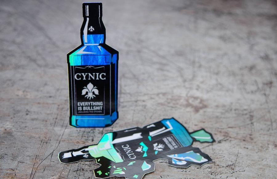 Cynic jack daniels bottle holographic sticker printed die cut stickers by rockin monkey designs of