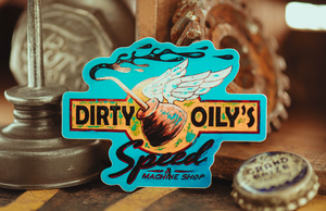 Dirty Oily's Speed Machine Shop Stickers Printed by Rockin Monkey of San Antonio