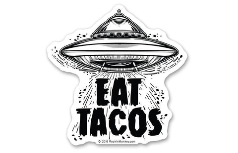 Fiesta taco custom stickers printed by rockin monkey designs of san antonio fiesta taco sticker 5 pack eat tacos from outer space spaceship sticker