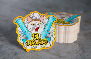 El Dorado Stoned Cat with Bongs Printed Die Cut Stickers by Rockin Monkey of San Antonio