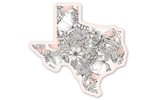 Pink Floral Texas Stickers