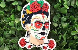 Dia de los Muertos Frida Kahlo Die-Cut Sticker Printed by Rockin Monkey of San Antonio