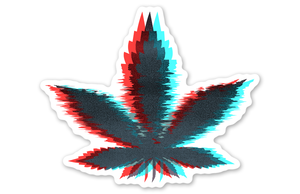 Glitchy Weed Leaf Sticker