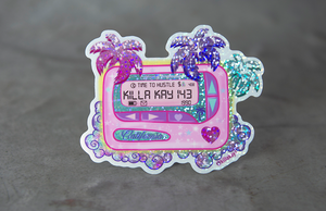 Glitter Holographic Callifornia Pager by Killakay1 Die-Cut Stickers by Rockin Monkey of San Antonio