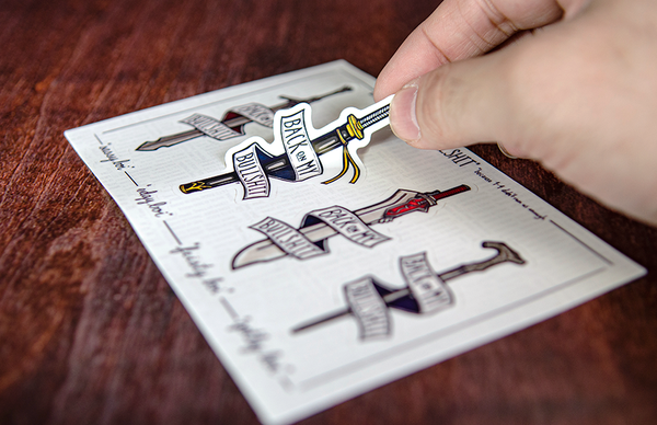 Illustrated Swords on Sticker Sheet Printed by Rockin Monkey of San Antonio