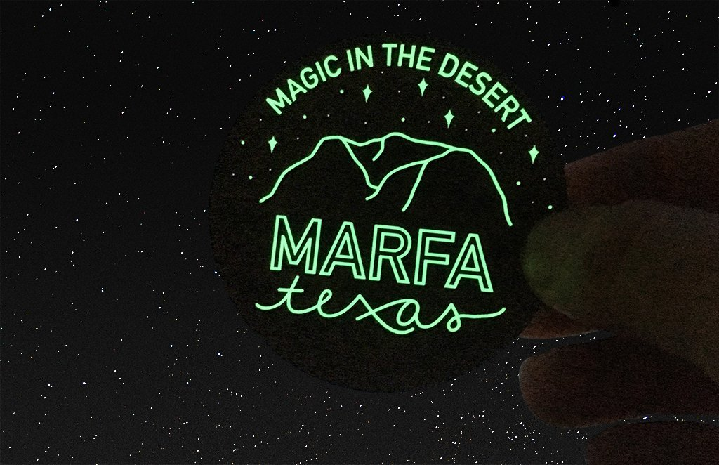 Marfa texas glow in the dark sticker by ashley bailey printed by rockin monkey designs of