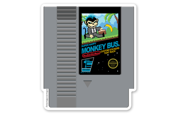 Monkey Bus. NES Cartridge Sticker