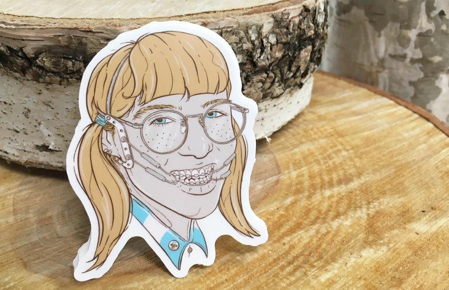 Nerdy girl with glasses illustration printed die cut stickers for norwood skateboards by rockin monkey