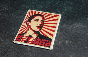 Russian Propaganda Hello Comrade Rectangular Stickers by Rockin Monkey of San Antonio