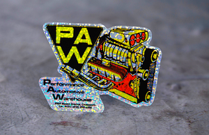 Performance Automotive Warehouse Printed Die-Cut Glitter Holographic Stickers by Rockin Monkey of San Antonio