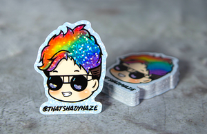 Pride Month Rainbow Hair Printed Die-Cut Glitter Holographic Stickers by Rockin Monkey of San Antonio