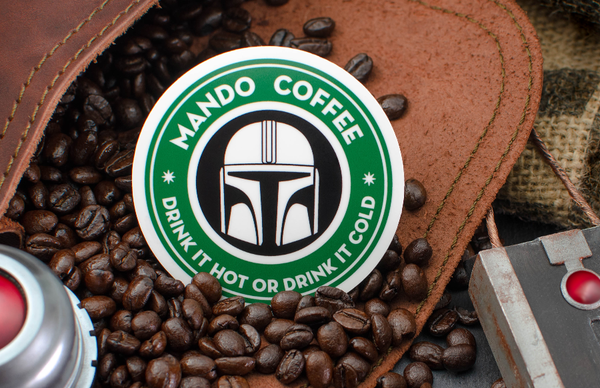 Round Starbucks Parody Mandalorian Stickers Printed by Rockin Monkey of San Antonio