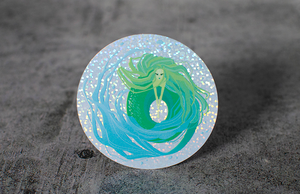 Round Illustrated Mermaid Printed Die-Cut Glitter Holographic Stickers by Rockin Monkey of San Antonio