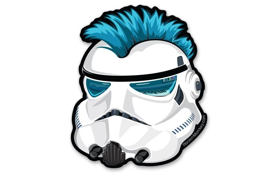 Star wars stormtrooper helmet bixby custom stickers printed by rockin monkey designs of san antonio