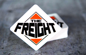 The Freight Printed Square Stickers with Rounded Corners by Rockin Monkey of San Antonio