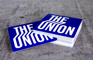 The Union Blue and White Printed Square Stickers by Rockin Monkey of San Antonio