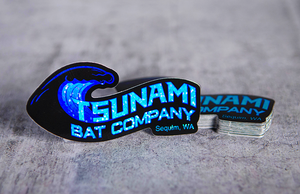Tsunami Bat Company Printed Die-Cut Glitter Holographic Stickers by Rockin Monkey of San Antonio