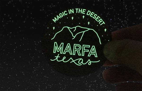 Marfa Texas Glow in the Dark Sticker by Ashley Bailey Printed by Rockin Monkey of San Antonio
