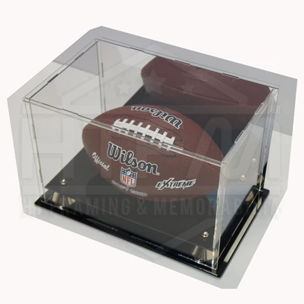 Deluxe Acrylic Nfl Football Display Case With Gold Risers and Mirror Back Finish - 1799