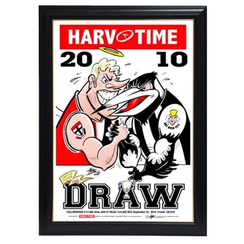 2010 Premiers, Collingwood v St Kilda Drawn Grand Final, Harv Time Print Framed - 4236