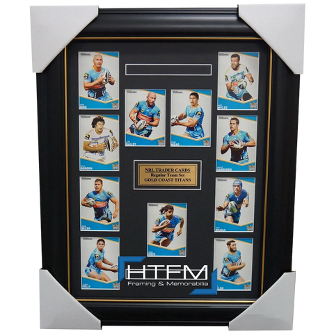 2014 GOLD COAST TITANS NRL TRADERS RUGBY LEAGUE COMPLETE COMMON CARD SET FRAMED - 1762