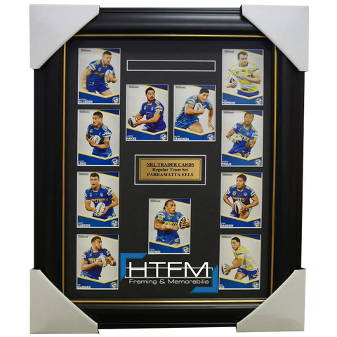 2014 PARRAMATTA EELS NRL TRADERS RUGBY LEAGUE COMPLETE COMMON CARD SET FRAMED - 1768