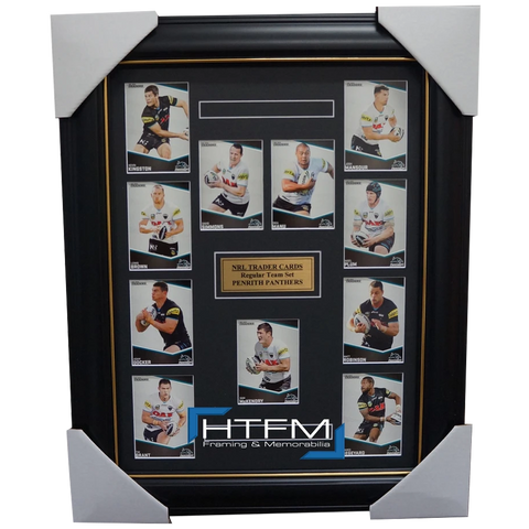 2014 PENRITH PANTHERS NRL TRADERS RUGBY LEAGUE COMPLETE COMMON CARD SET FRAMED - 1769
