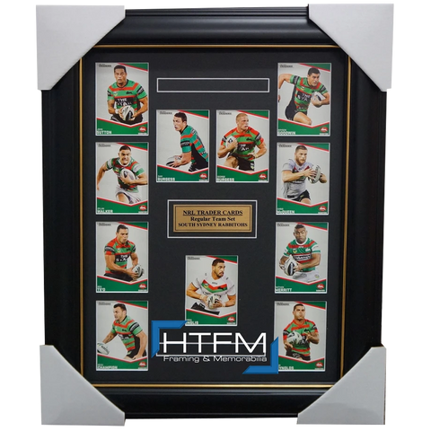 2014 SOUTH SYDNEY RABBITOHS NRL TRADERS RUGBY LEAGUE COMPLETE CARD SET FRAMED - 1770