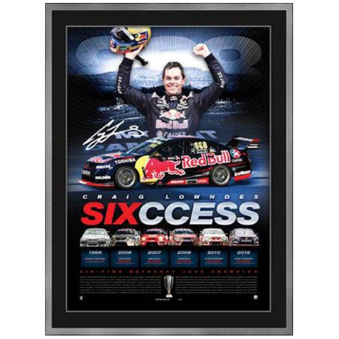 "2015 CRAIG LOWNDES ""SIX-CESS""™ BATHURST 1000 FRAMED SIGNED LITHOGRAPH OFFICIAL - 2591"