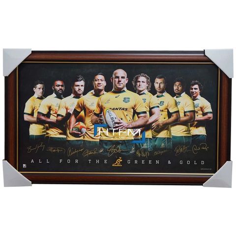 2015 World Cup Australia Wallabies Official Rugby Signed Print Framed Folau - 2554