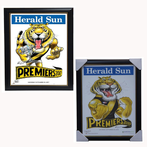 2017 & 2019 AFL Premiers Richmond Tigers Mark Knight Herald Sun Print Framed Package - 3850