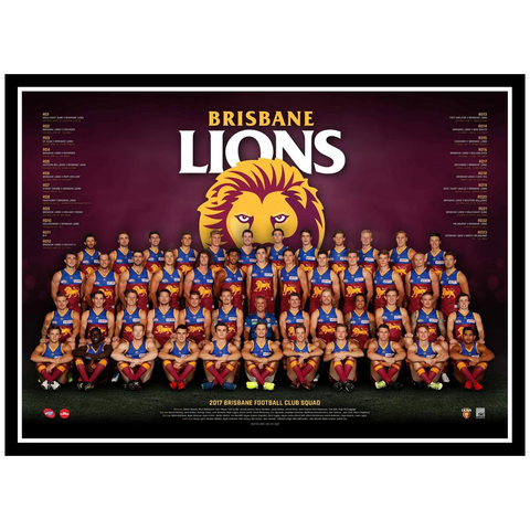 2017 Afl Official Brisbane Lions Team Print Framed Dayne Beams Rockliff Zorko - 3079