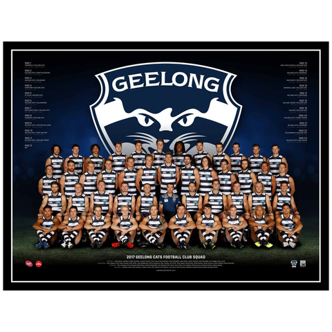 2017 AFL Official Geelong Cats Team Print Framed Patrick Dangerfield Selwood - 3080