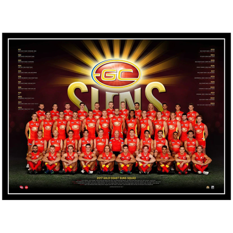 2017 Afl Official Gold Coast Suns Team Print Framed Tom Lynch Gary Ablett Jnr. - 3081