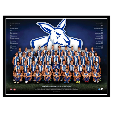 2017 Afl Official North Melbourne Kangaroos Team Print Framed Jack Ziebell - 3087