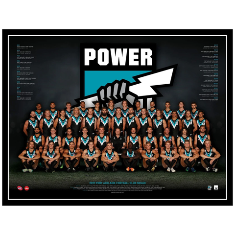 2017 Afl Official Port Adelaide Power Team Print Framed Boak Wines Wingard - 3088