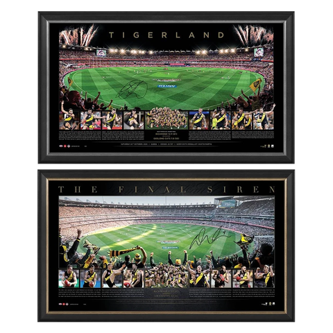 2020 & 2019 Afl Premiers Richmond Tigers Signed Trent Cotchin & Dustin Martin Print Framed Package - 4693