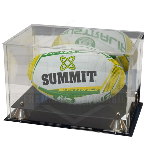 Deluxe acrylic Rugby Union Ball display case with gold risers and mirror back finish - 3603