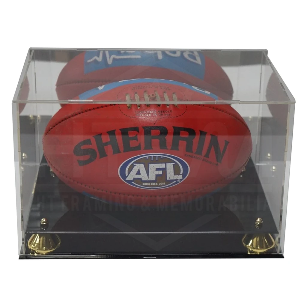 Deluxe Acrylic Afl Football Display Case With Gold Risers and Mirror Back Finish - 3640