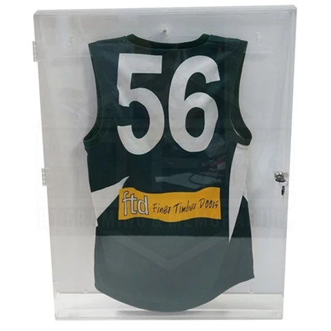 Deluxe Acrylic Football Jersey Jumper Display Case Clear Back Finish - Quality - 3893
