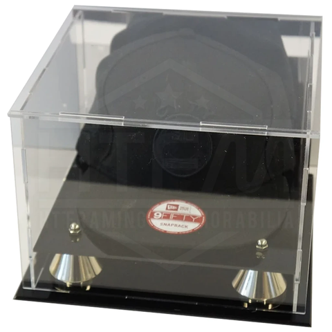 Deluxe Hat/cap Acrylic Display Case With Gold Risers Mirror Back Finish New - 3910